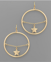 Gold Star Dangle Circle Earrings