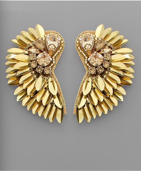 Gold Jeweled Wing Earrings