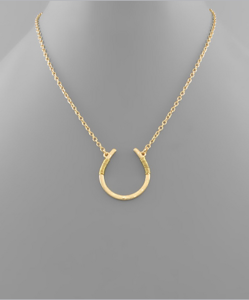 Gold Horn Shape Pendant Necklace