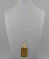 Olive Cowhide Rectangle Necklace