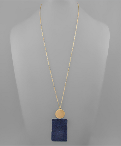 Navy Cowhide Rectangle Necklace