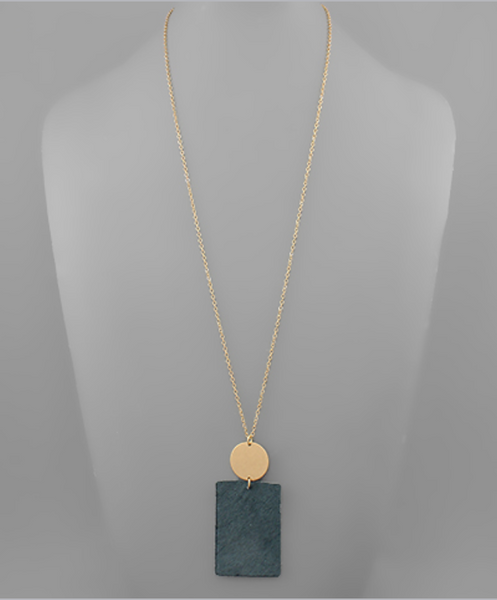 Gray Cowhide Rectangle Necklace