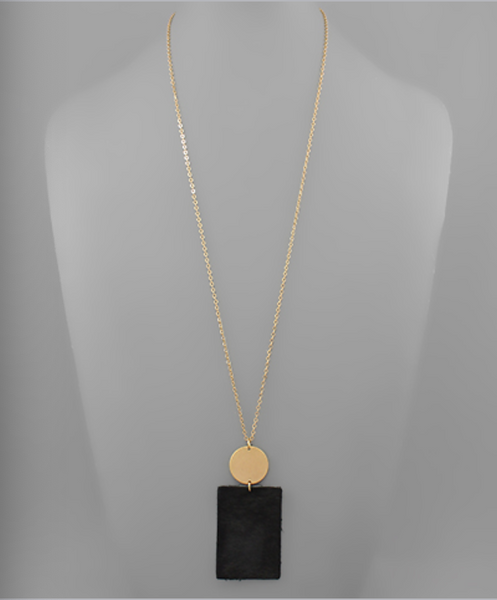 Black Cowhide Rectangle Necklace