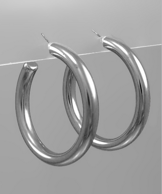 50mm Thick Silver Hoops
