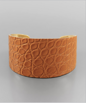 Crocodile Leather Bangle in Brown/Gold