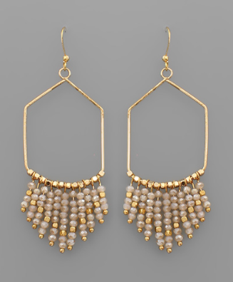 Bead Fringe Pentagon Earrings in Blush