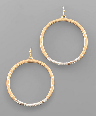Wire Wrapped Circle Earrings in Gold