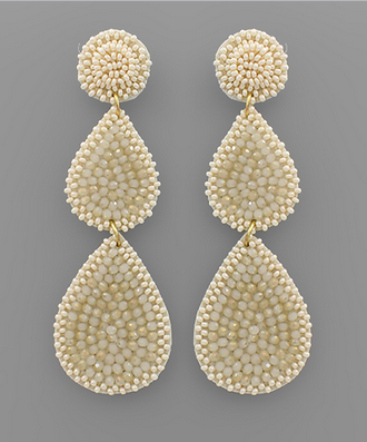 Bead Disk & Teardrop Earrings in Ivory