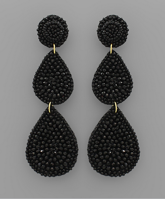 Bead Disk & Teardrop Earrings in Black