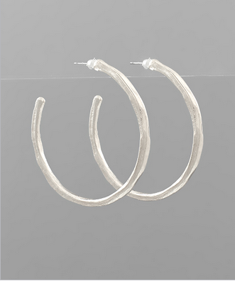 45mm Hammered Hoops in Silver