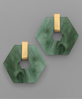 Acrylic Hexagon Earrings in Dark Green