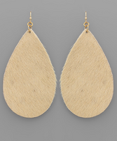 Cowhide Teardrop Earrings in Beige