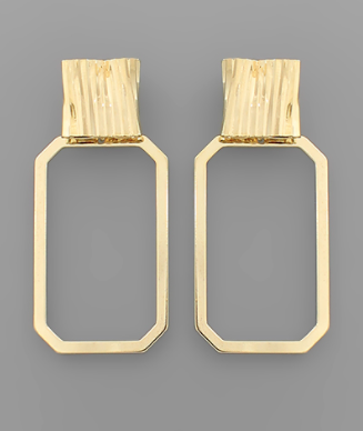 Gold Dipped Rectangle Earrings