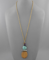 Wood and Stone Pendant Necklace
