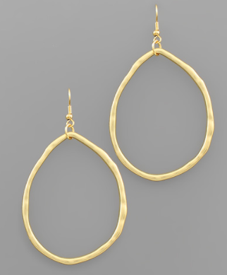 Hammered Teardrop Shaped Earrings