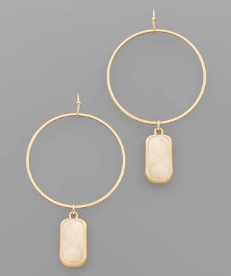 Bar Circle Earring in Natural