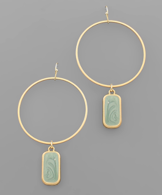 Bar Circle Earrings in Mint