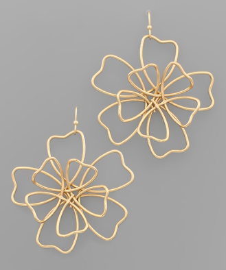 Wire Pansy Flower Earrings
