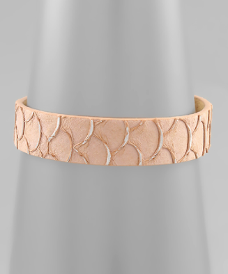 Animal Print Leather Bracelet in Blush