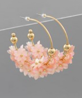 Flower Cluster Hoops in Pink
