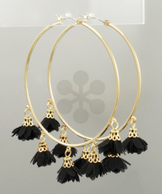 Dangled Flower Hoops in Black