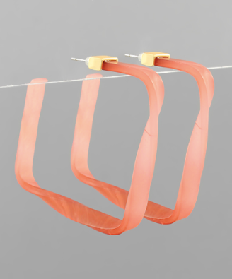 Acrylic Twisted Square Hoops in Coral