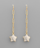 Stone Star Chain Drop Earrings in Howlite