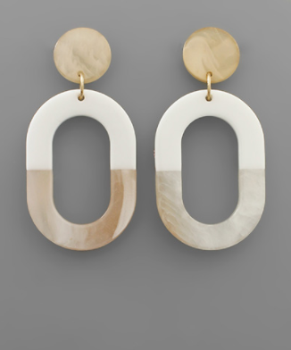 Multi Acrylic Oval Earrings in White/Natural