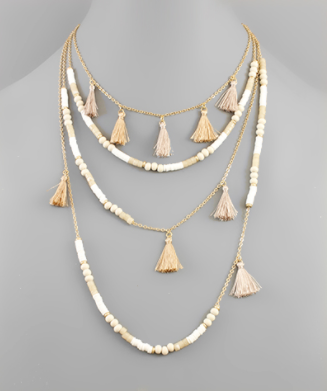Bead & Tassel Layer Necklace