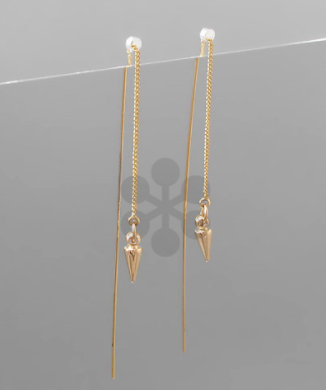 Metal Spike End Drop Needle Earrings