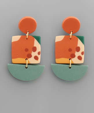 Square & Wedge Polymer Earring