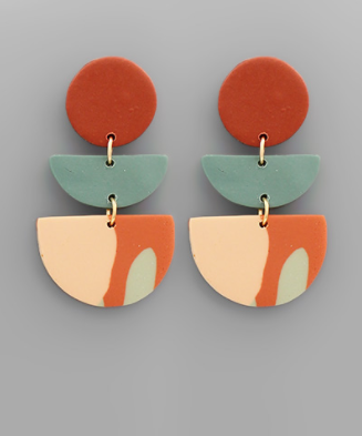 Double Wedge Polymer Clay Earrings
