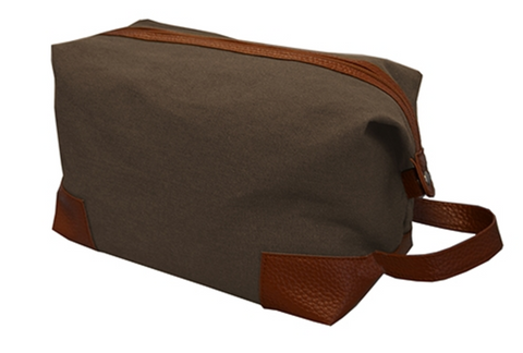 Men's Canvas Dopp Kit in Mocha