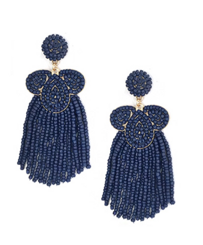 Dangle Bead Statement Earrings in Navy