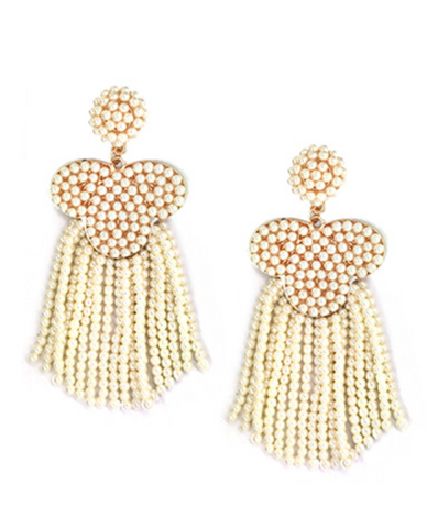 Dangle Bead Statement Earrings in Cream
