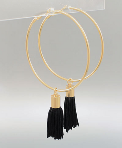 Hoop & Tassel Statement Earrings in Black
