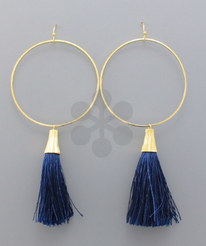 Hoop & Tassel Statement Earrings in Navy