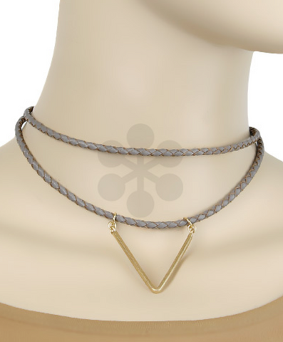 Choker Necklace with Triangle Detail in Black