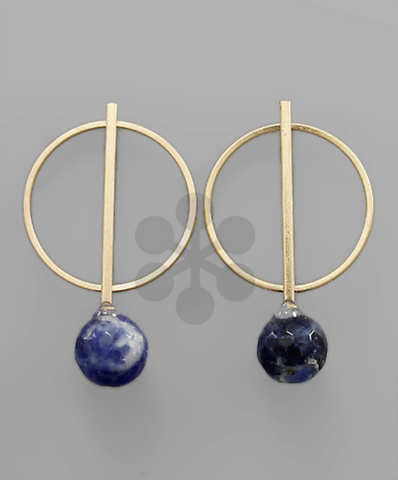 Circle & Bar with Round Bead in Blue