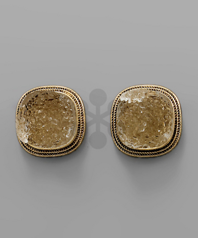 Druzy Statement Studs in Natural