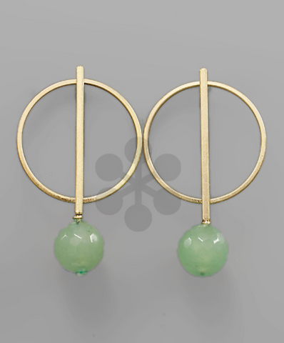 Circle & Bar with Round Bead in Mint