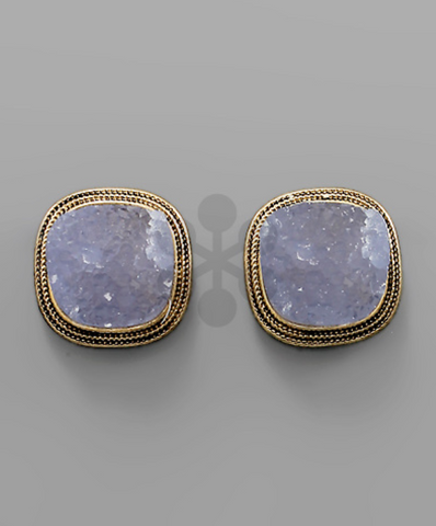Druzy Statement Studs in Periwinkle