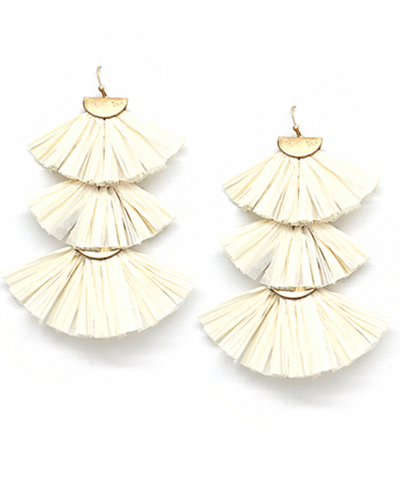 Raffia Fan Tiered Earrings in Ivory
