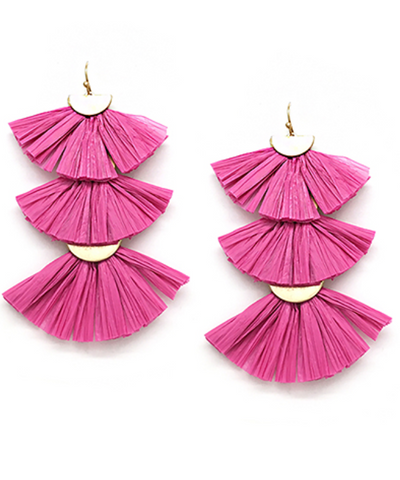 Raffia Fan Tiered Earrings in Fuchsia