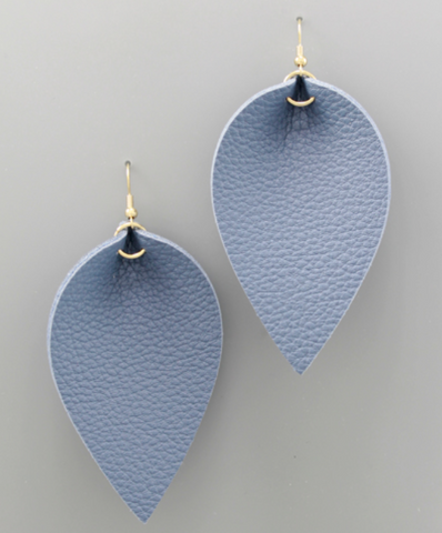 Faux Leather Statement Earrings in Blue