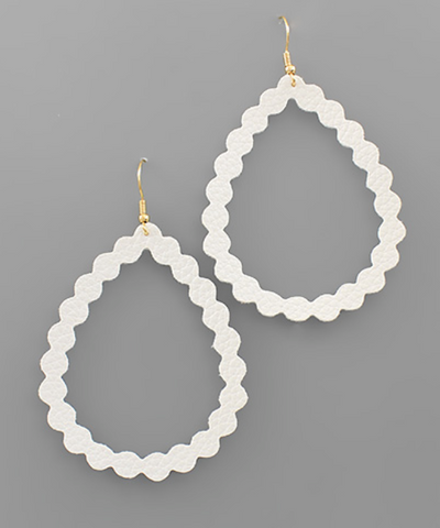 Faux Leather Textured Teardrop Earrings in White