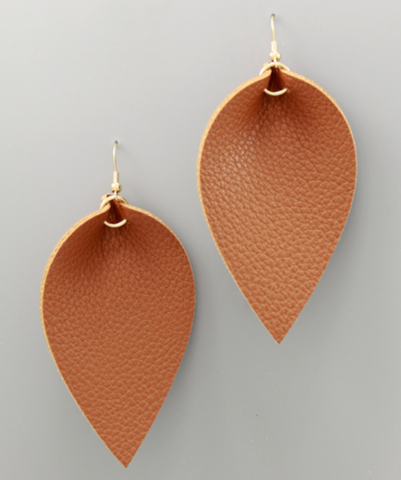 Faux Leather Statement Earrings in Brown