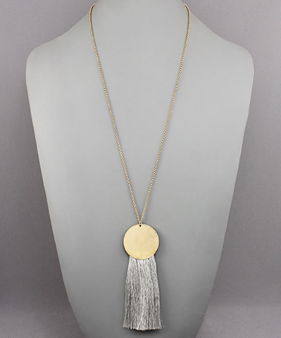 Gold Circle & Tassel Necklace in Gold/Grey