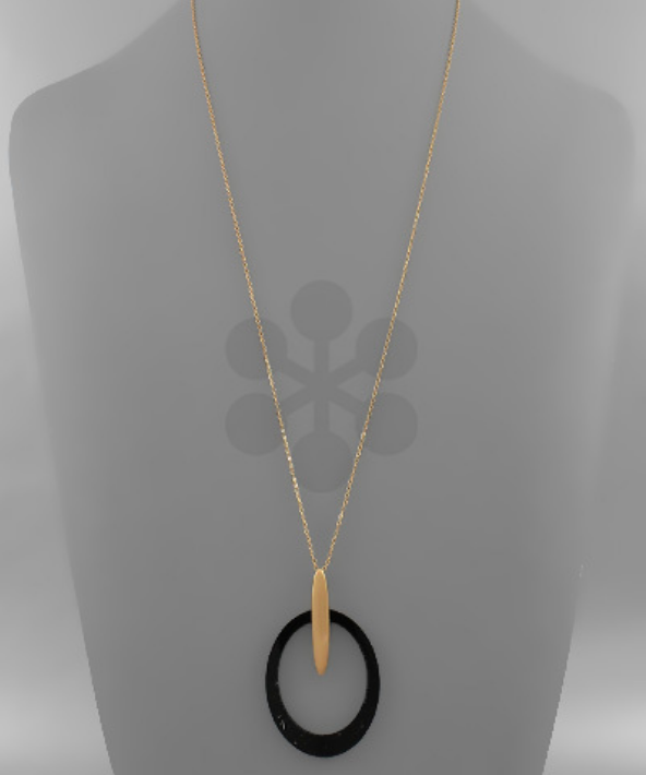 Circle Acrylic Necklace in Black