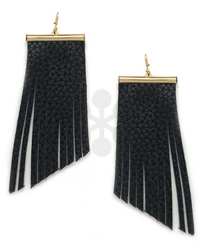 Gold Bar & Faux Leather Dangle Earrings- Black